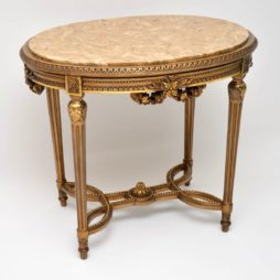 Antique French Marble Top Gilt Wood Table