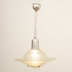1950s Vintage Opaline & Aluminium Halophane Pendant Lamp