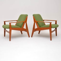 1950's Pair of Danish Teak Armchairs by Arne Vodder