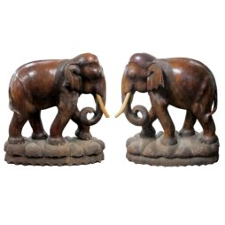 Pair of elephant sculptures, carved wood, 20th century