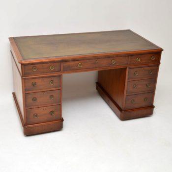 Antique Victorian Mahogany & Leather Pedestal Desk