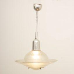 1950s Vintage Opaline & Aluminium Holophane Pendant Lamp