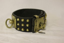 Early 1800's Leather And Brass Studded Dog Collar