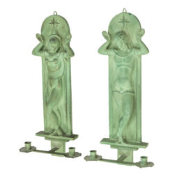 Pair of Art Deco wall sconces candle holders, Swedish