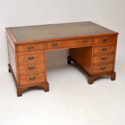 Large Antique Walnut Leather Top Pedestal Desk