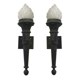 Pair of large bronze torches, English C. 1880