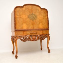 Antique Burr Walnut Cocktail Drinks Cabinet by Hille