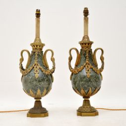 Pair of Antique French Marble & Gilt Metal Table Lamps