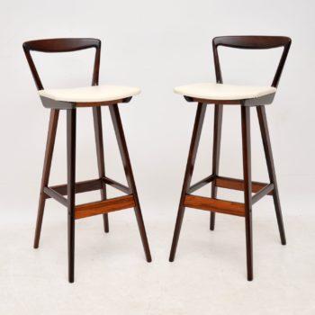 Pair of Danish Rosewood Bar Stools By Henry Rosengren Hansen