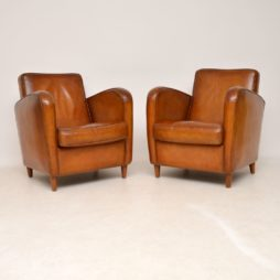 Pair of Vintage Swedish Leather Club Armchairs