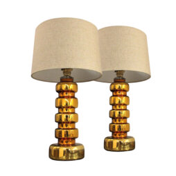 A pair of gold glass table lamps, 1960's