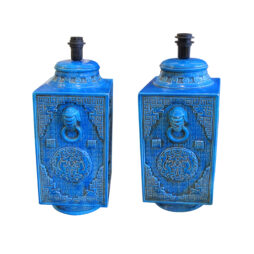 A pair of deep blue ceramic table lamps, Italian 1970's