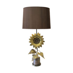 A brass sunflower tall table lamp, French 1960's