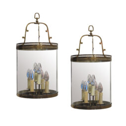 1950's Pair of brass and curved glass lanterns, French