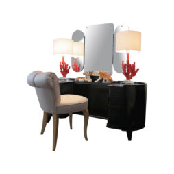 A 1940's Danish dressing table with its triptych mirror