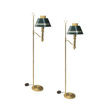 A pair of brass floor lamps with green metal shades, Swedish 1970's