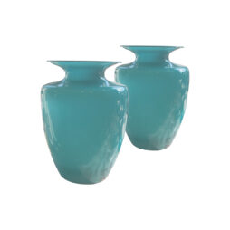 A pair of baby blue opaline glass vases, French mid century