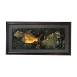 A painted wall plaster relief of fish under water by H. De Penanros