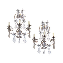 A pair of 1920's wrought iron and glass pampilles wall lights, French
