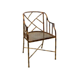 An occasional gilt metal faux bamboo single chair, mid century