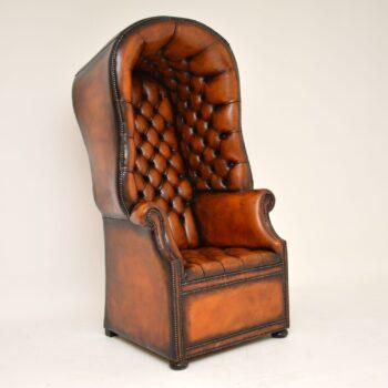 Antique Georgian Style Leather Porters Armchair