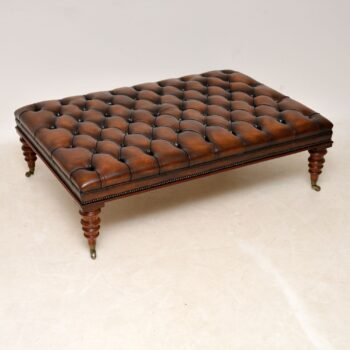 Large Antique Victorian Style Deep Buttoned Leather Stool / Coffee Table