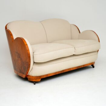Art Deco Walnut Cloud Back Sofa by Epstein