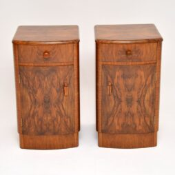 Pair of Art Deco Walnut Bedside Cabinets Vintage 1930's