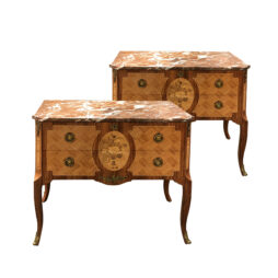 Pair of early 20th century marquetery cabinets with marble top, Swedish