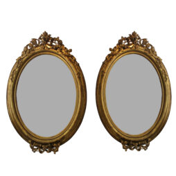 Pair of Circa 1860 Large French Napoleon III Large Carved Gilt Oval Mirrors