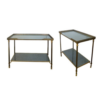 A pair of brass side tables with etched glass, attributed to Maison Bagues