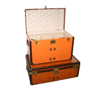 Pair of Louis Vuitton Trunks One with Removable Laundry Basket  circa 1910