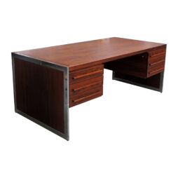 1960s Danish executive rosewood desk with chrome frame