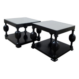 Art Deco Swedish Set Of Two Side Tables With Mirrored Top, Ebonized Birch wood