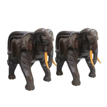 Mid Century Pair Of Balinese Hand Carved Hardwood Elephant Chairs