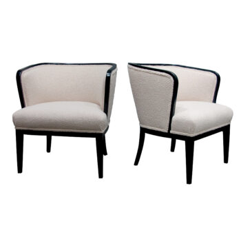1920s Swedish Pair Of Tub Armchairs Newly Upholstered With A Boucle Fabric