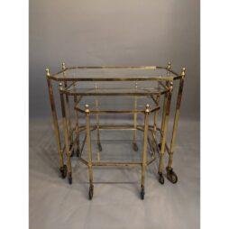 Mid-Century Italian Brass Nest of Trolleys with Glass Shelves