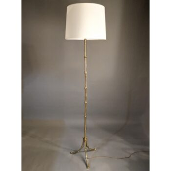 Mid-Century Maison Bagues Faux Bamboo Brass Standard Lamp