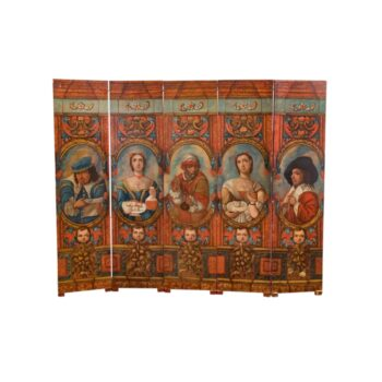 Antique 19th Century Oil on Canvas Hand-Painted Screen