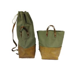 Leather and Canvas Swiss Army Convertible Kit Bag