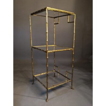 Three Tiered Vintage Faux Bamboo Brass Etagere