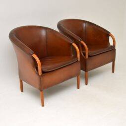Pair of Danish Vintage Leather Armchairs by Mogens Hansen