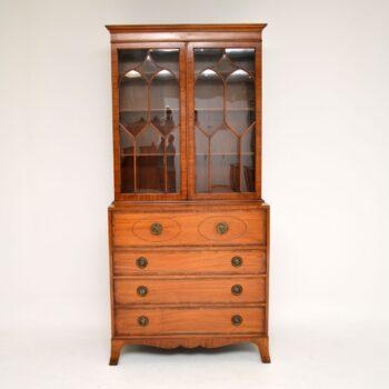 Antique Sheraton Style Satinwood Secretaire Bookcase