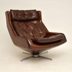 Leather & Chrome Swivel Armchair Vintage