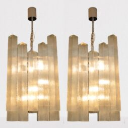 Pair of Large Vintage 1960's Glass Chandeliers by Doria Leuchten