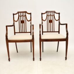 Pair of Antique Edwardian Inlaid Mahogany Armchairs