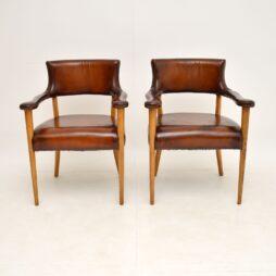Pair of Vintage Leather & Oak Armchairs