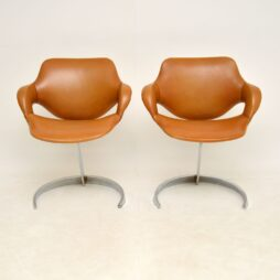 Pair of French Leather & Chrome Scimitar Chairs by Boris Tabacoff