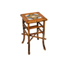 Victorian Bamboo Stand with inset Maiolica Tile