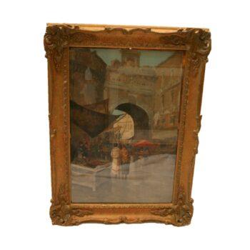Italian Market Stalls Oil on Canvas Circa 1900